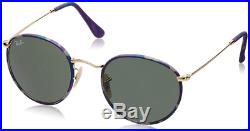 Authentique Ray-ban Rond Métal Camouflage / or Soleil RB 3447-JM 172 Neuf 50mm
