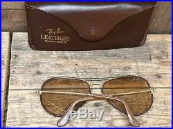 B&l RAY BAN VINTAGE LEATHERS CUIR aviateur lunette de soleil 62/14 aviator