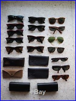 782e69b422ab Lot de lunettes de soleil Vintage Bausch   Lomb Ray Ban et Persol + étuis