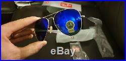 Lunettes ray ban aviateur. Monture doré et verres bleus. NEUF