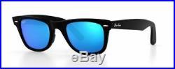 Ray Ban 2140 50 Wayfarer Remix Poli Black Bleu Miroir Verres Custom Noir