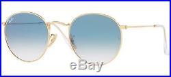 Ray Ban 3447/n 50 001/3f Or Lunettes De Soleil Rond Bleu Gradué Verres Plat