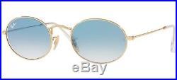 Ray Ban 3547n 3547/n 51 001/3f Or Lunettes De Soleil Oval Bleu Gradué Verres