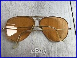 Ray Ban Aviator B&l Baush & Lomb USA Lunette De Soleil Vintage Homme Gold Ambre