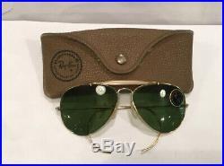 Ray Ban B&L USA 1/30K Plaqué Or Aviateur Outdoorsman Bausch Lomb Lunettes NOS 70