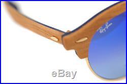 Ray-Ban Clubround Bois RB4246M 1180/7Q 51mm Hommes Lunettes de Soleil Marron or