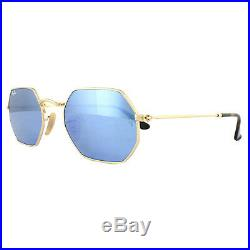 Ray-Ban Lunettes de Soleil Octogonale 3556n 001/9o or Bleu Clair Dégradé Miroir
