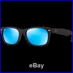 Ray-Ban New Wayfarer Large Black Rubber Bleu Miroité RB2132 622/17 55