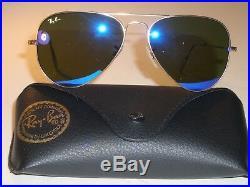 Ray-Ban RB3025 58 14 Miroir Bleu UV Marron Verre or Aviateur Lunettes de Soleil
