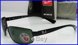 Ray Ban RB3364 002/58 Hommes 62mm Cadre Noir Vert Polarisé Lentille Soleil Neuf