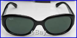 Ray-Ban RB4198 601 Femmes Noir Poli Cadre Vert Objectif Soleil Neuf