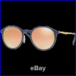 Ray-Ban Round Light Ray Bleu Brun Dégradé Miroité Rose RB4224 872/B9 49