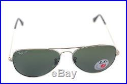 Ray-Ban aviateur polarisé RB3025 003/58 58mm Grand Argent Vert + boîte rare