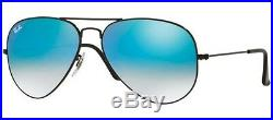 Ray ban 3025 55 Aviateur 002/4O Black Bleu Miroir Gradué Sunglasses Lunettes