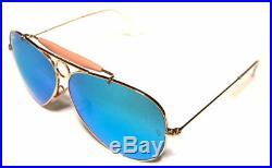 Ray ban 3138 62 Shooter or or Bleu Miroir Réfléchissant Personalisé Remix