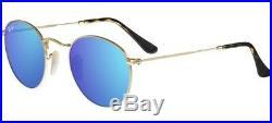 Ray ban 3447 / N 50 001/9O or Sunglasses Rond Bleu Miroir Verres Verres Plat