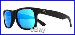 Ray-ban Justin RB4165 Soleil Caoutchouc Noir 622/55 Miroir Bleu 51mm