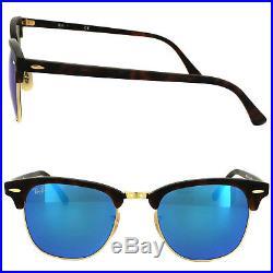 Ray-ban Lunettes Clubmaster 3016 114517 Mat Tortue Bleu Flash Miroir Grand