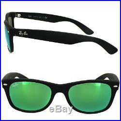 Ray-ban Lunettes Neuf Wayfarer 2132 622/19 Caoutchouc Noir Vert Flash Miroir S