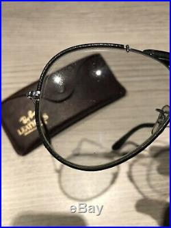 Ray ban aviator Leather vintage outdoorsman argent et cuir noir b&l usa