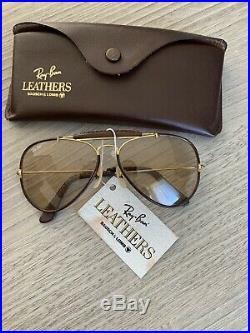 Ray ban aviator Leather vintage outdoorsman or et cuir marron b&l usa Neuve