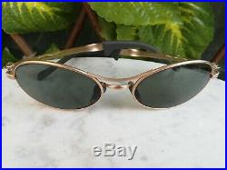 Sunglasses Ray Ban Bausch & Lomb W2177 Orbs Ellipse Oval Gold Vintage