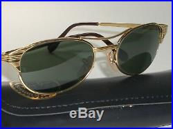 Vintage B&L Ray-Ban W1394 Arista Plaqué or Lisse Ovales G15 Signet