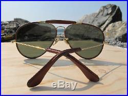 Vintage Ray Ban B&L Outdoorsman Leathers G15 Aviator Sunglasses 80s