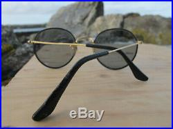 Vintage Ray Ban B&L W1184 Leathers Round Changeables John Lennon Sunglasses