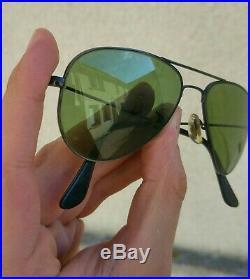 Vintage SUNGLASSES Ray-ban B&L AVIATOR BLACK LIC FRAME RB-3 Lenses 70's